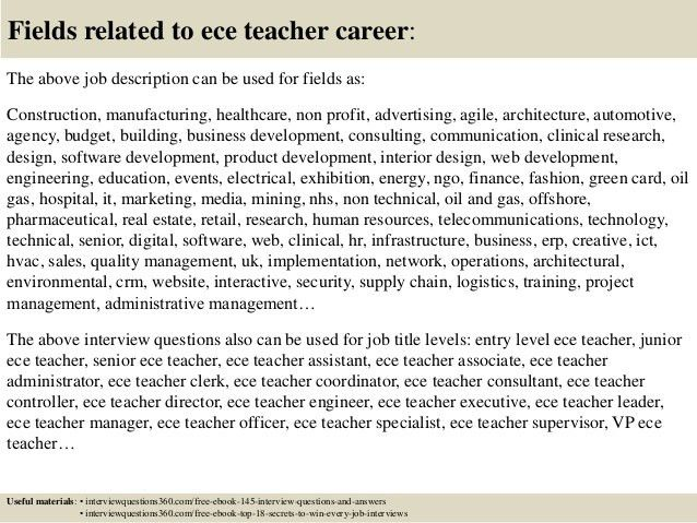 Top 10 ece teacher interview questions and answers