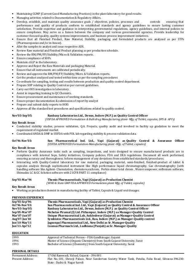 Quality Control Chemist Resume Qc Resume Sample Matchboardco, Paint