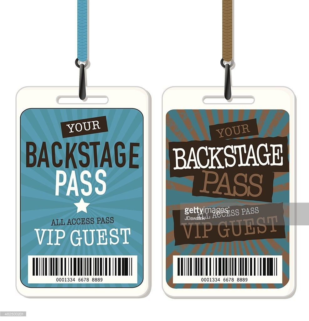 Set Of Backstage Pass Template Designs Vector Art | Getty Images