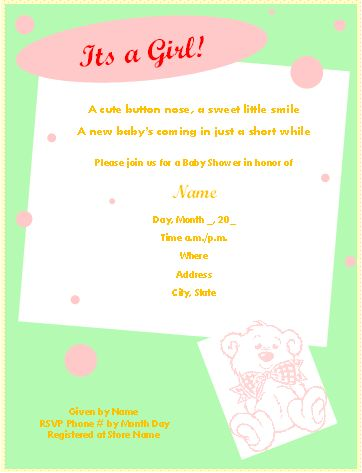 Free Printable Baby Shower Invitations for Microsoft® Word