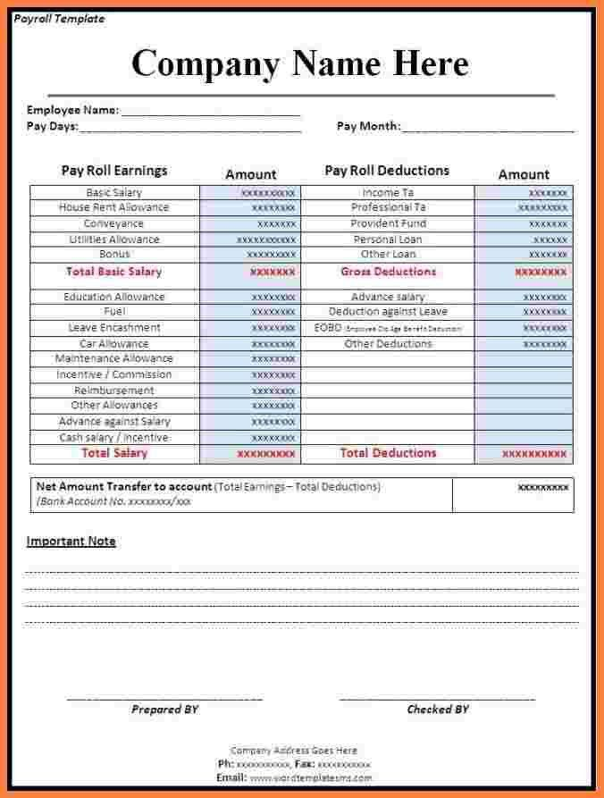 8+ payroll invoice template | Securitas Paystub