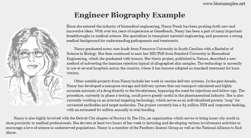 Engineer Bio Example | Bio Examples | Pinterest