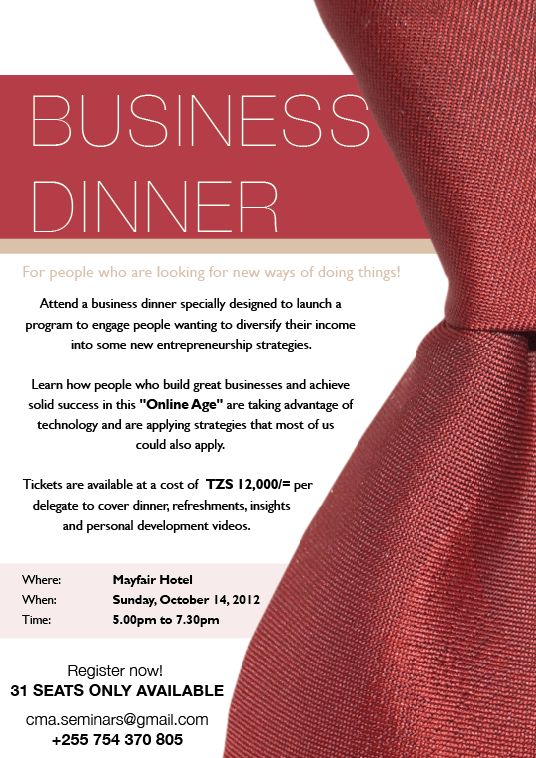 Business Dinner Invitation Template | cimvitation