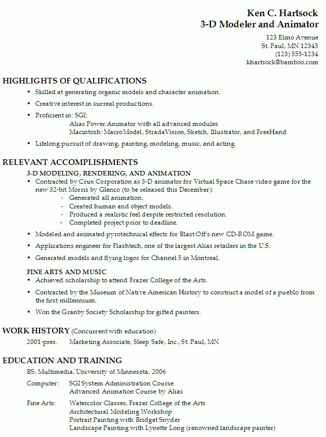 Resume for a 3-D Modeler and Animator - Susan Ireland Resumes