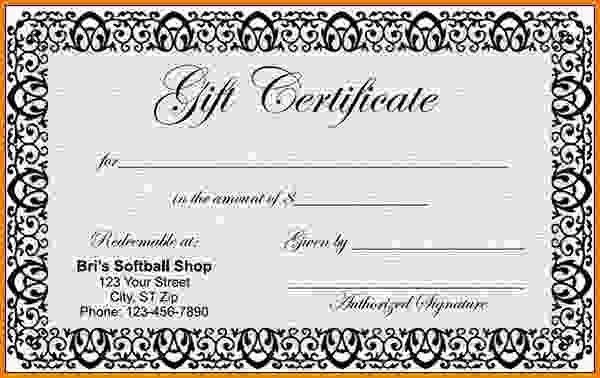9+ blank gift certificate template | Letter Template Word