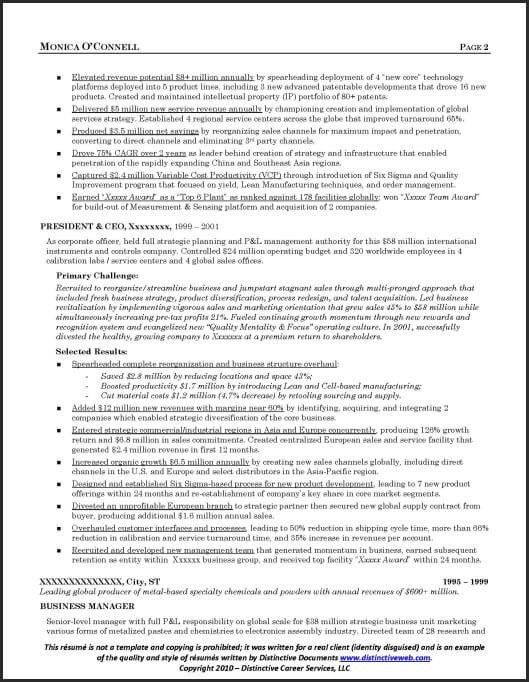 Resume Sample for Executives