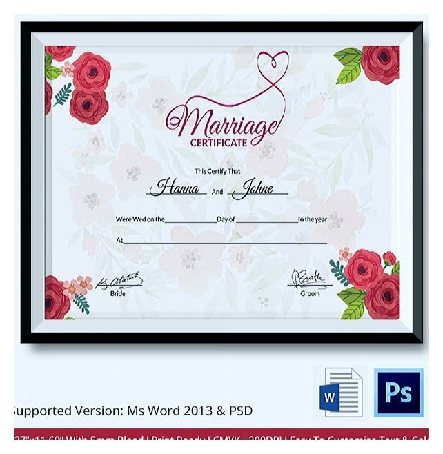 Designing Using Marriage Certificate Template for Your Own Certificate