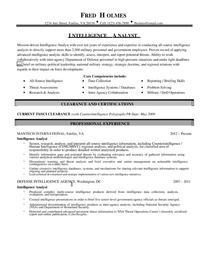 Cia Analyst Cover Letter