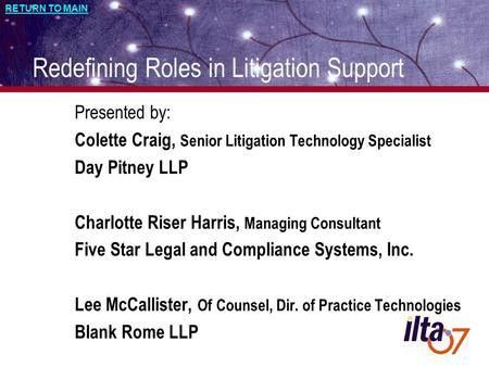 How to Work with the IT & Litigation Support Departments – A ...