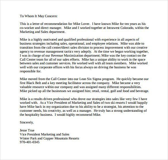 Sample Personal Letter Of Recommendation – 21+ Download Free ...
