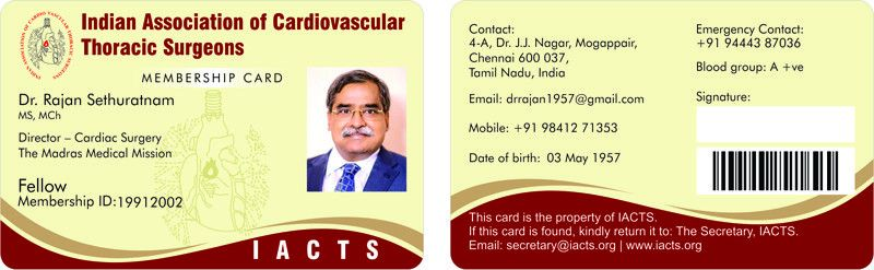 IACTS Membership ID Card - Form | IACTS