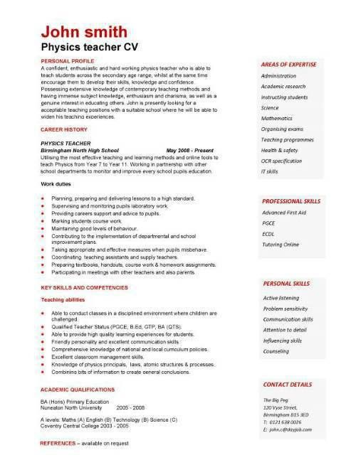Cv template for teaching position