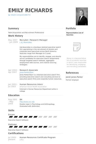 Recruiter Resume samples - VisualCV resume samples database