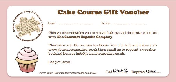 Course Gift Vouchers | The Gourmet Cake Company
