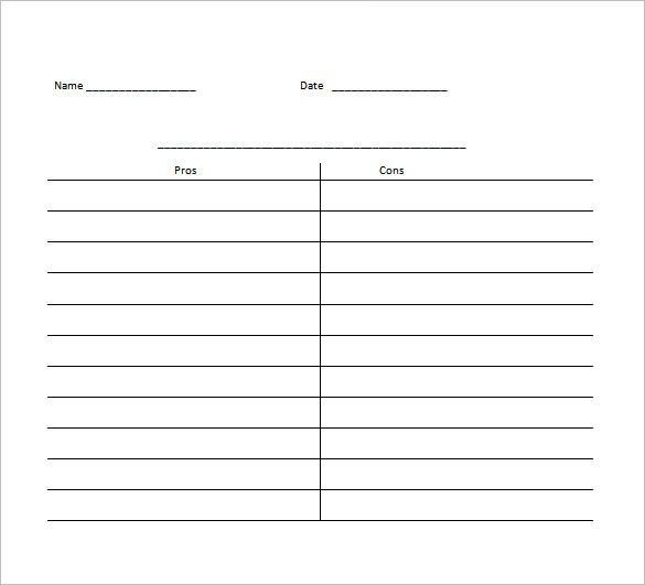 T Chart Template | Free Business Template