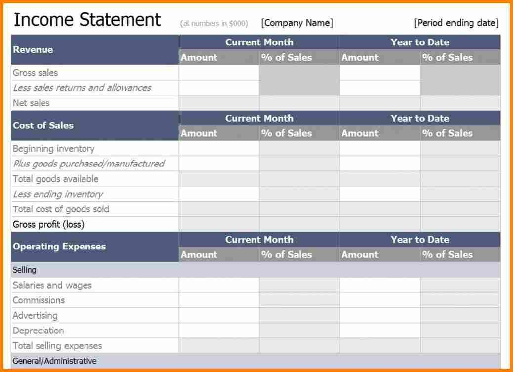 7+ income statement excel template | budget template