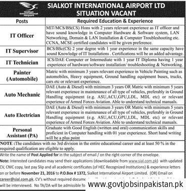 Sialkot International Airport Job, IT Officer, IT Supervisor, IT ...