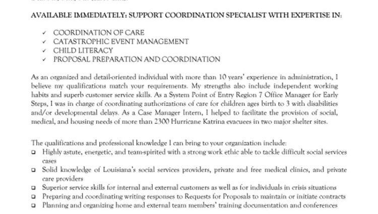 Non Profit Support Coordination Specialist Cover Letter Non Profit ...