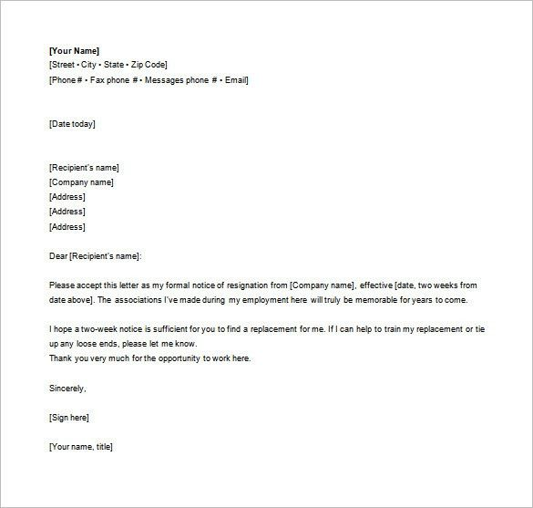 Sample Formal Letter. 5+ Formal Resignation Letter Template ...
