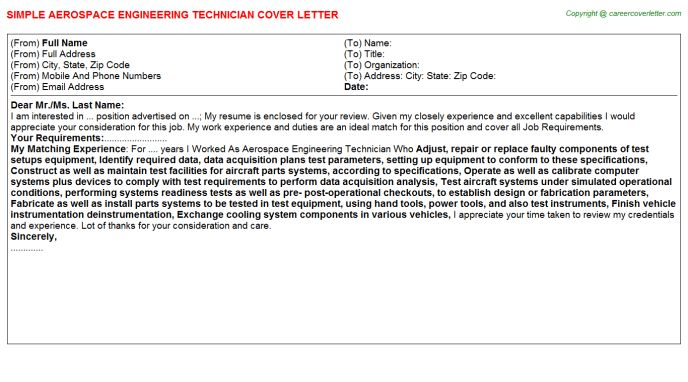 Boeing Aerospace Engineer Cover Letters