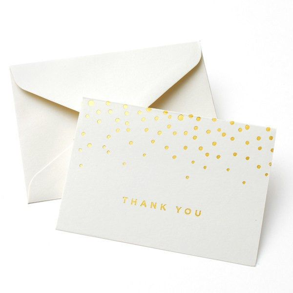 GOLD FOIL DOTS THANK YOU CARD 50CT | Gartner Studios