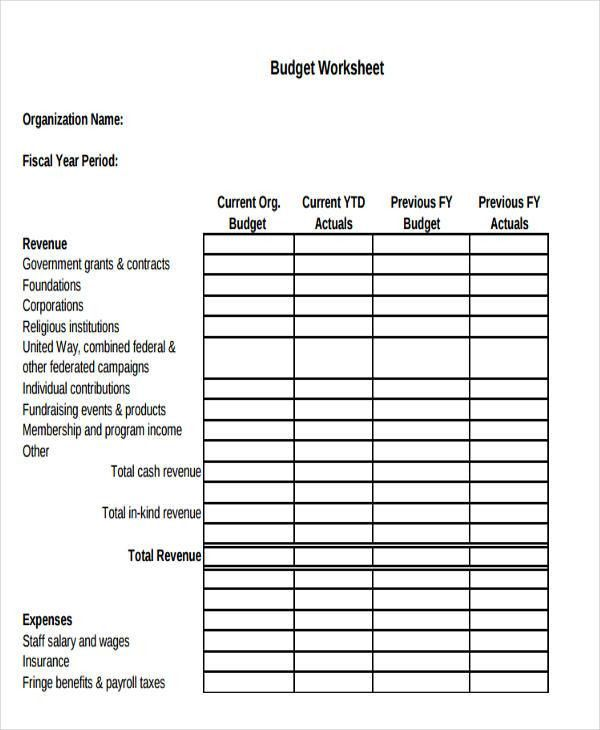 Non Profit Budget Templates - 9+ Free Word, Excel, PDF Format ...