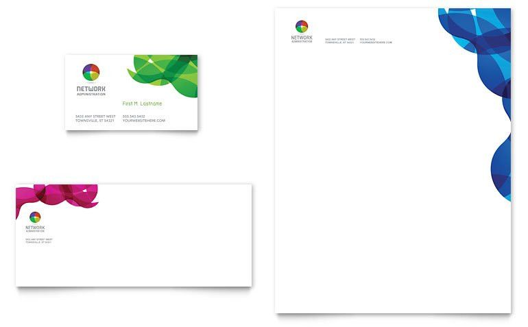 Network Administration Business Card & Letterhead Template - Word ...