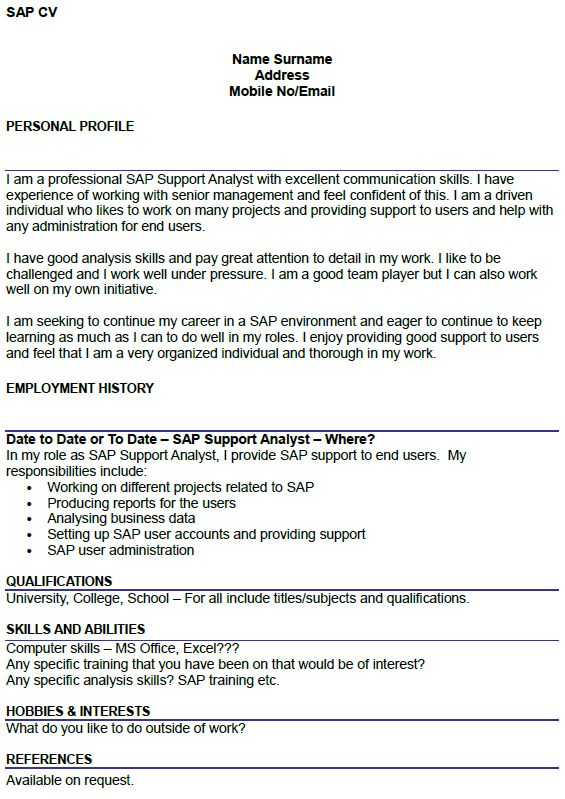 Sap Support Cover Letter