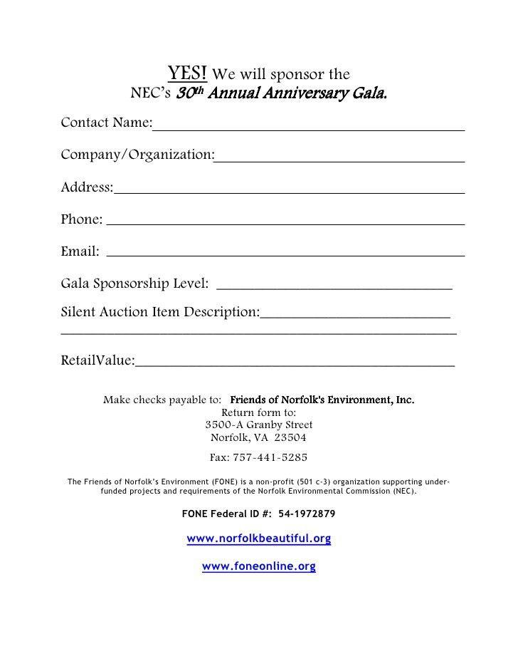 30th Annual Gala Sponsorship Form