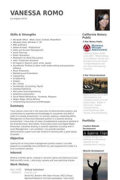 Virtual Assistant Resume samples - VisualCV resume samples database