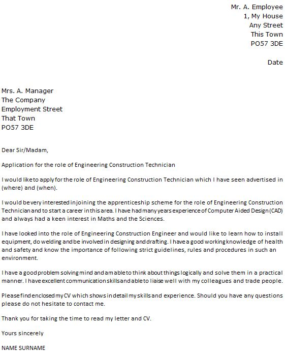 Engineering Construction Technician Cover Letter Example - icover ...