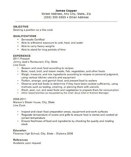 Prep-Cook Resume Sample | jennywashere.com