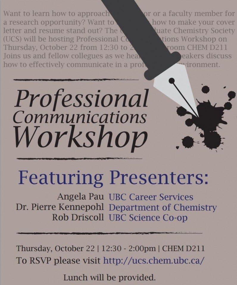 Professional Communications Workshop | Undergraduate Chemistry Society