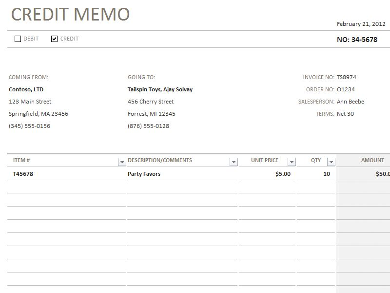 Credit Memo Template | Accounting Templates