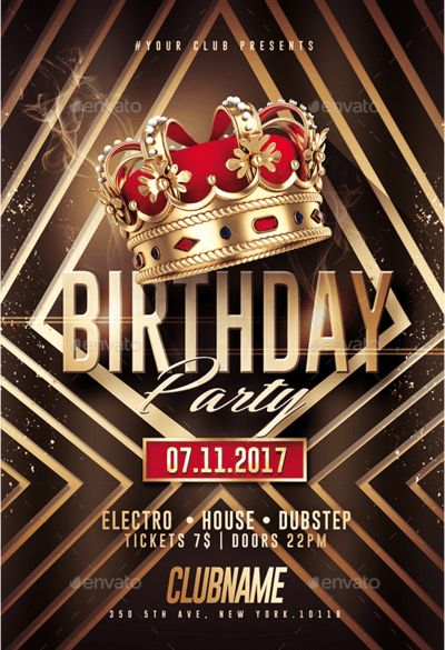 Gold Birthday | Kings Flyer Template by RomeCreation on DeviantArt
