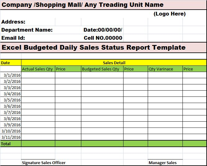 Excel Budgeted Daily Sales Status Report Template – Free Report ...