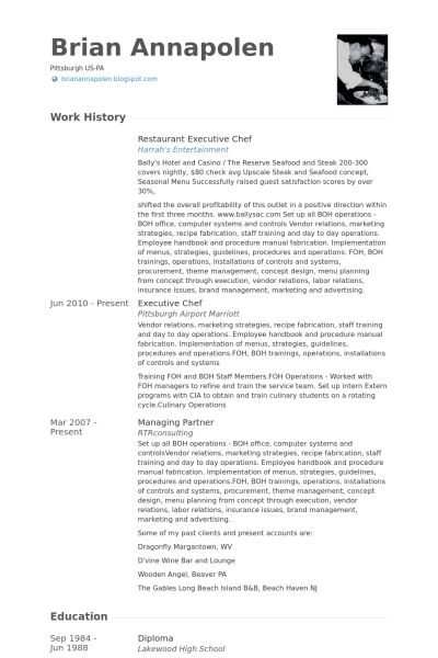executive chef resume samples visualcv resume samples database