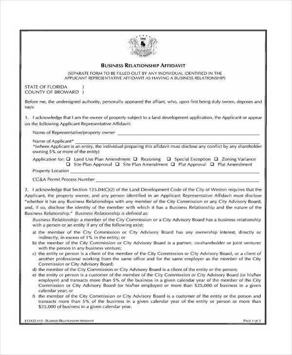 Sample Relationship Affidavit Forms - 8+ Free Documents in Word, PDF