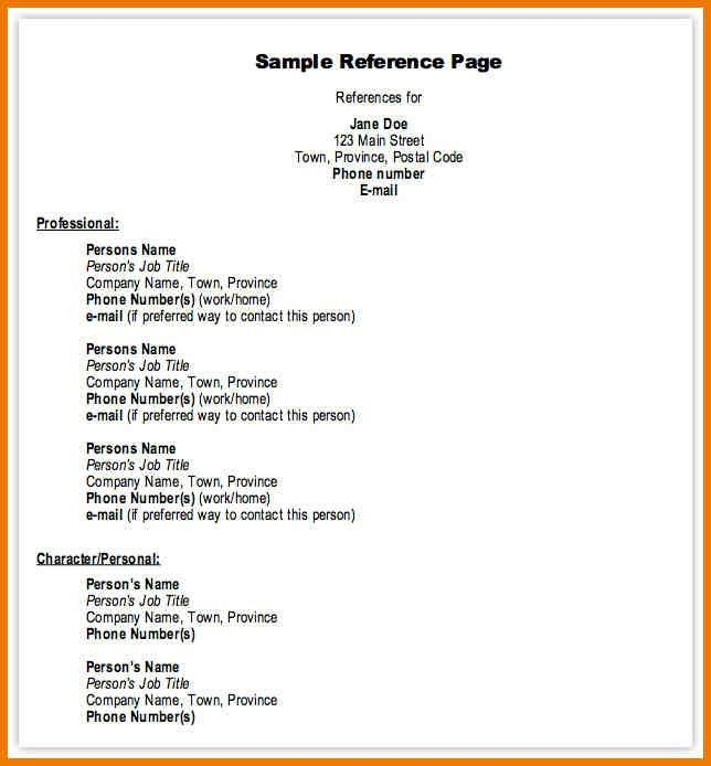 Professional Resume References Template. reference list for resume ...