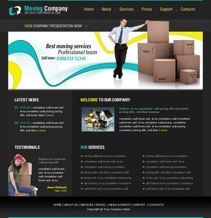 Free website template 448 about Moving, company, boxes, new house
