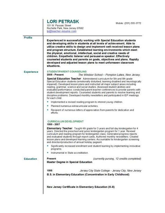Sample Resume For College Teaching Position - Gallery Creawizard.com