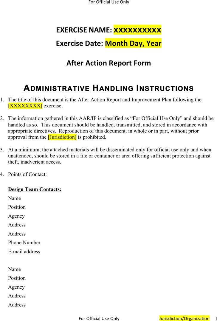 Free After Action Report Template 1 - FormXls