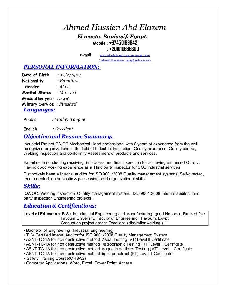 Sr. QA/QC Mechanical Engineer