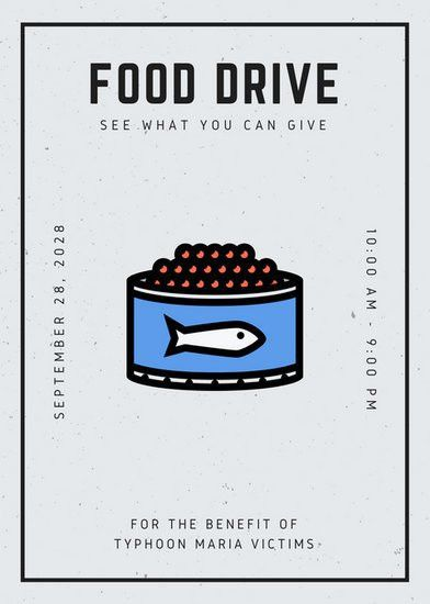 Black and Cream Grungy Minimalist Food Drive Flyer - Templates by ...