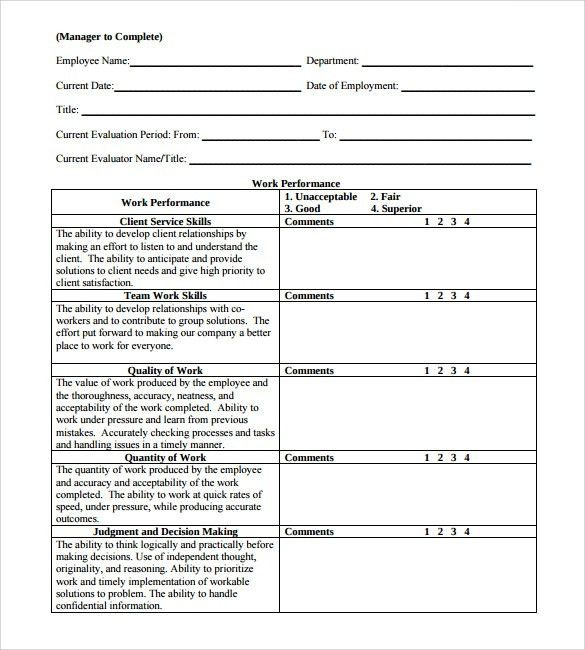 Employee Review Forms - 5+ Download Free Documents In PDF
