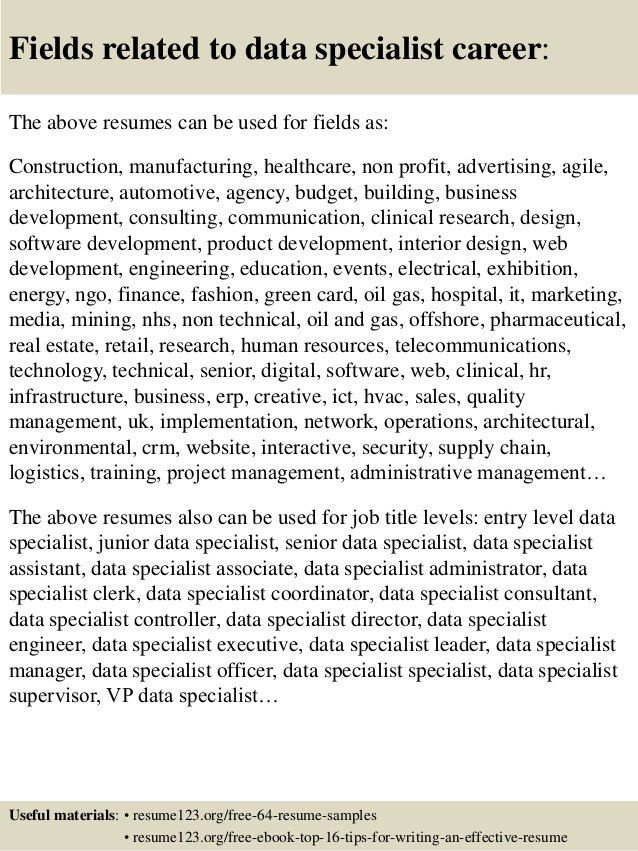 Top 8 data specialist resume samples