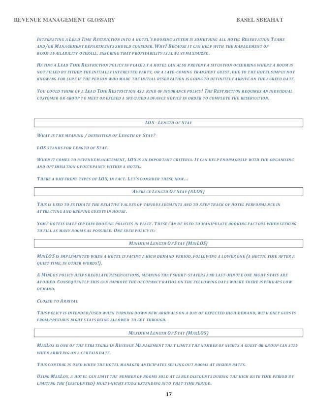 Revenue management glossary