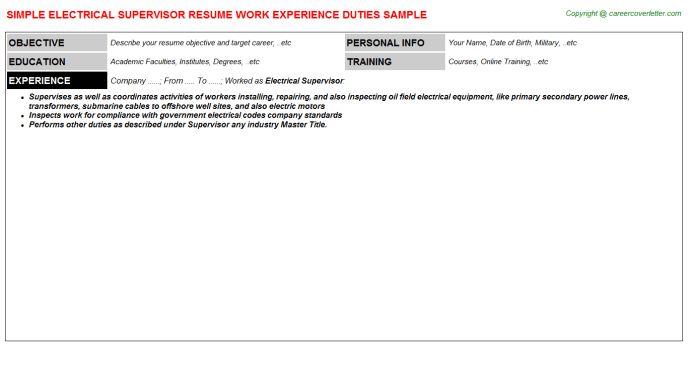 Electrical Supervisor Resume Sample