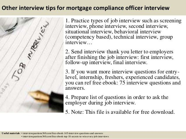 Top 10 mortgage compliance officer interview questions and answers