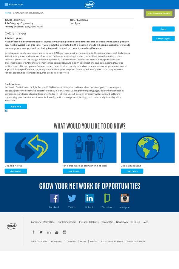 CAD Engineer job at Intel in Bangalore, India   Tapwage Job Search